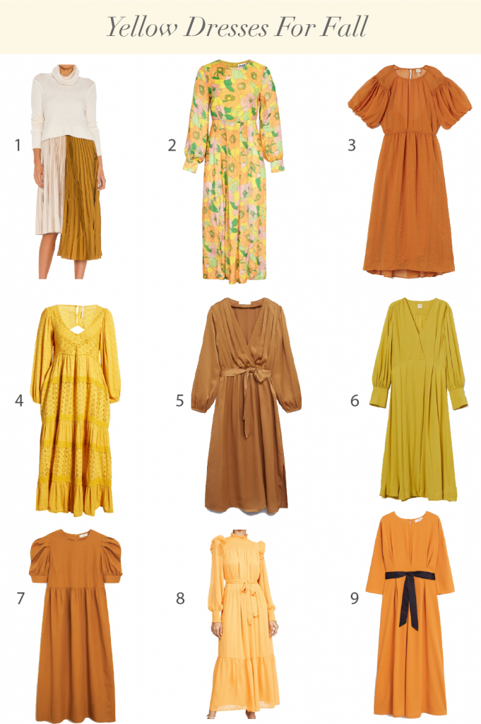 Chic Yellow Dresses For Fall