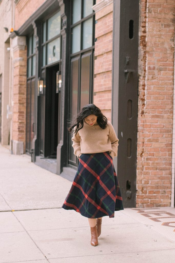 How To Style A Baggy Sweater With Wool Skirt