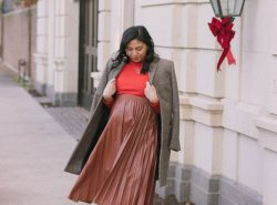 How To Style A Faux Leather Pleated Skirt